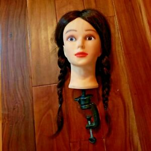 Female Mannequin Head W Holding Clamp For Displaying Hats Scarves Jewelry Euc