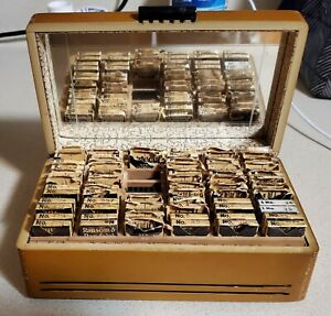 Vintage Ransom Randolph Cutwell Dental Burs Lrg Lot With Finger Jointed Box