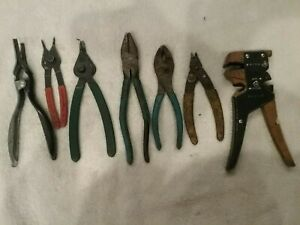 7 Assorted Pliers Lisle Channellock Snapit Cornwell Sk Snap Ring Wire Cutters Ho
