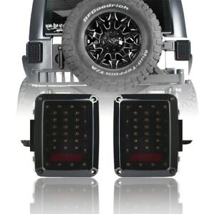 Fit 07 18 Jeep Wrangler Jk Pair Led Tail Lights Smoke Brake Turn Signal Reverse