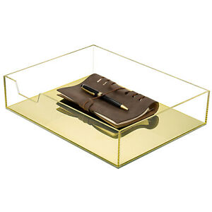 Mygift Clear Gold Acrylic Office Desktop File Folder And Document Organizer Tray