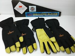 Habit 3m Thinsulate Insulated Waterproof Work Gloves Leather Palm 2 Pair Size M