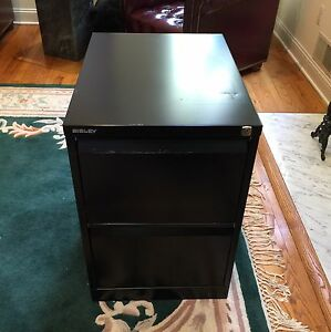 Bisley Black Two Drawer Filing Cabinet W Lock
