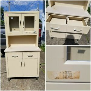 Vintage Mid Century Medical Dental Apothecary Glass Metal Wall Cabinet