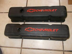 Pair Of Black Valve Covers For Chevy Small Block Previously Owned