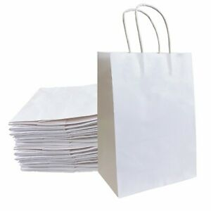 8 x4 25 x10 5 Kraft Paper Bags Gift Bag With Handles For Wedding Party Shopping