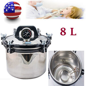 Portable 8l Pressure Steam Sterilizer Dental Tattoo Autoclave Sterilization Fda