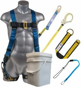 Palmer Safety 3d Fall Protection Combo Kit I Full Body Harness 6 Shock