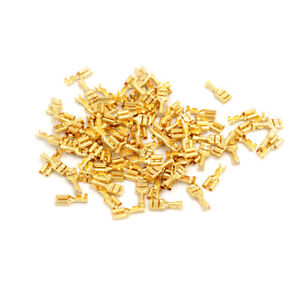 100 Pcs 4 8mm Gold Brass Car Speaker Female Spade Terminal Wire Connector F1