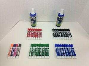 Expo Low Odor Dry Erase Markers Chisel Tip Assorted Colors 37 box 2 Cleaner