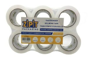 Zipit Packaging Premium Packing Tape Clear 3 Inch 110 Yards Length roll 6 Rolls