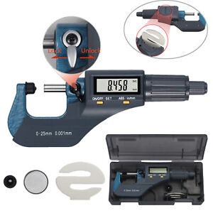 0 1 0 00005 Digital Electronic Outside Micrometer Carbide 0 25mm Measuring Tool