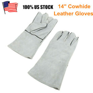 14 Inch Welding Gloves Gray Heat Resistant Lined Leather For Mig Tig Welder