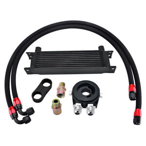 10 Row Engine Transmission Oil Cooler An10 Filter Adapter Hose Kit Universal