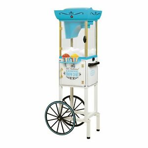 Nostalgia 48 inch Stylish Tall Snow Cone Cart Makes 48 Icy Treats White blu