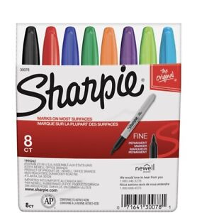 Sharpie Fine Point Markers Set Assorted Colors 8 Count