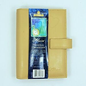 Day Timer Planner Personal Organizer Tan Leather 6 ring Binder With Filler