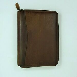 Scully Leather Zippered 3 Ring 10 X 7 Business Organizer Planner Brown