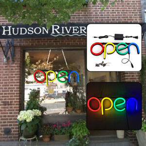 2pc Led Open Neon Sign Advertising Board Electric Lighted Display Wall Art Light