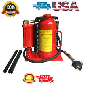 20 Ton Air Hydraulic Bottle Jack Heavy Duty Steel Pneumatic Manual Red Us Stock