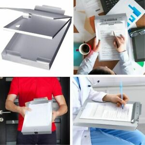 Metal Clipboard Case With Storage Box Self Locking A4 Paper Holder Aluminum