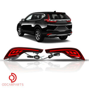 Fits Honda Crv 2017 2019 Red Led Rear Bumper Reflector Brake Tail Fog Light Lamp