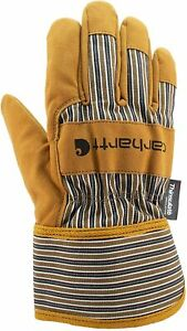 Carhartt Men s Insulated Suede Work Glove With Safety Cuff X large Brown