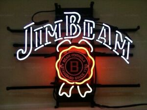 New Jim Beam Whiskey Neon Light Sign Lamp 17 x14 Beer Cave Gift Bar Real Glass