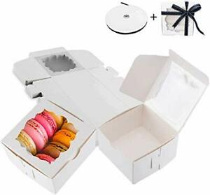 Thalia 60 Pack White Bakery Boxes With Window Pastry Box Donut 4x4x2 5 Inches