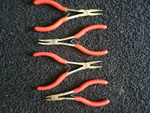 Mac Tools Usa 4 Piece Red Grip Assorted Mini Needle Nose Cutter Pliers Lot Set