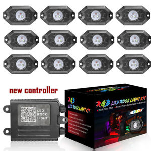 12 Pods Rgb Cree Led Rock Lights Lamp Off Road Music Wireless Bluetooth Control