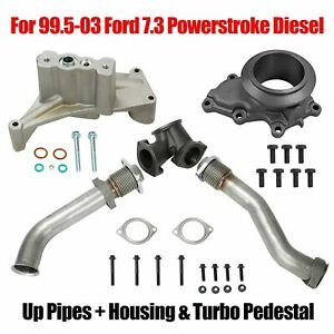 Bellowed Up Pipes Housing Turbo Pedestal For 99 5 03 Ford 7 3 Powerstroke Diesel
