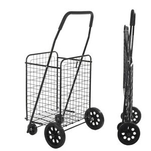 Folding Utility Cart Grocery Shopping Rolling Trolley Collapsible Push Basket