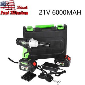 Cordless Electric Impact Wrench Rattle Nut Gun 460nm Li Ion Battery 1 2 Driver