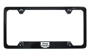 Jeep Logo Black License Plate Frame Holder 4 Hole