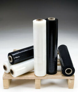 6 X Strong Rolls Black clear Pallet Stretch Shrink Wrap Cast Packing Cling Film
