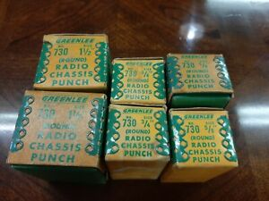 Vintage Greenlee Radio Chassis Punch 730 Various Sizes 6 Total Lot W Boxes