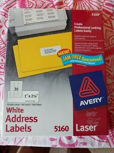 Avery 5160 Laser White Address Labels 1 X 2 5 8 Labels