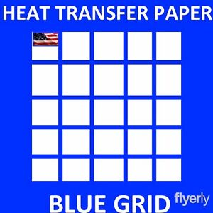Iron On Inkjet Opaque Heat Transfer Paper For Dark Fabrics blue Grid 50 Sh A
