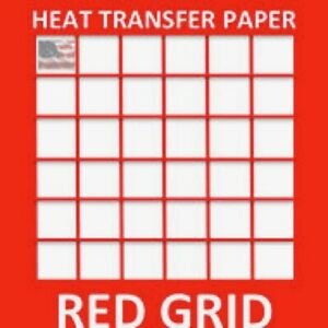 Inkjet Heat Transfer Paper Light Color T Shirt Fabrics 8 5 x11 100 Sh Red Grid
