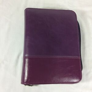 Compact Franklin Covey Planner Binder Organizer Faux Leather Purple Violet