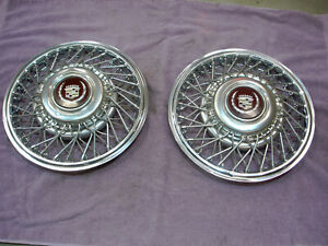 Set Of 2 Cadillac 86 88 Fleetwood Etc 14 Wire Spoke Hub Caps Wheel Covers