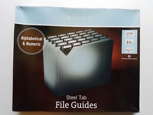 Steel Tab File Guides In Place Alphabetical And Numeric Letter New Gray