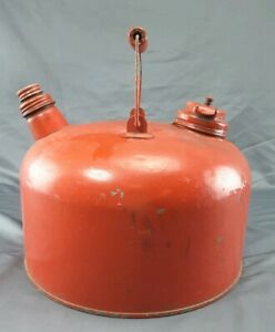 Vintage 2 Gallon Galv Metal Gas Can Double Spout Vented Wooden Handle Clean