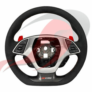2015 2019 C7 Z06 Corvette Automatic Suede D shaped Steering Wheel Red Stitching