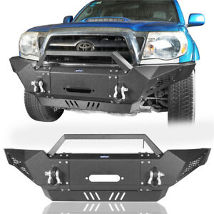 Matte Black Steel Front Bumper W Winch Plate D Rings For Toyota Tacoma 05 15