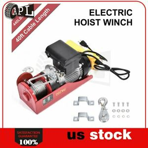 440lbs 110v Electric Cable Hoist Crane Lift Garage Auto Shop Winch W Remote