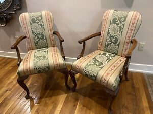 2 Two Baker Furniture Queen Anne Damask Upholstered Dining Occasional Arm Chairs