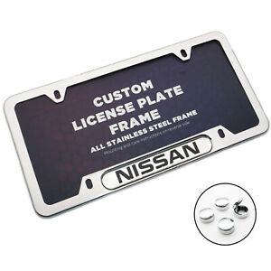 Front Rear License Frame Plate Cover Stainless Steel For Nissan Sport