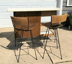 Mid Century Modern Arthur Umanoff Bar Set With Two Swivel Stools